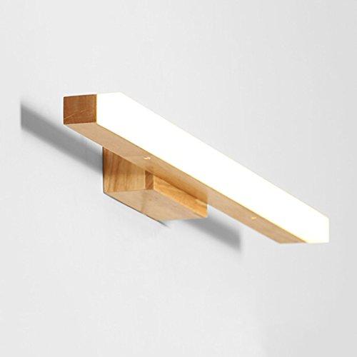 Badbeleuchtung Wasserdicht und Antibeschlag Massivholz-Wand-Lampe, feste hölzerne Spiegel-vordere Lichter, wasserdichtes Holz Wandbeleuchtung YANGFF-Spiegellampen (Farbe : Weiß-7w40cm) (Hölzerne Lampe)