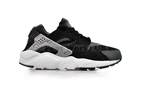 Nike Huarache Run (GS), Chaussures de Running Entrainement Garçon, Noir Multicolore - Negro / Gris / Blanco (Black / Wolf Grey-Drk Grey-White)