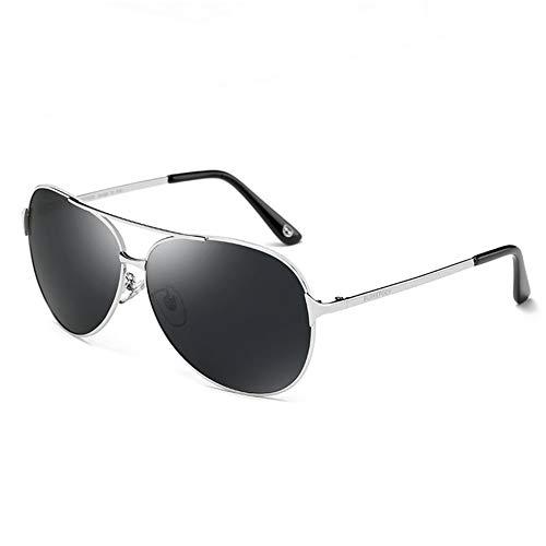 YIWU Brillen & Zubehör Sonnenbrillen-männlicher Fahrer, der Gläser polarisierte Sonnenbrillen-Ferien-Strand-Reiten-Ski-Ausrüstung fährt (Color : Black+Silver)