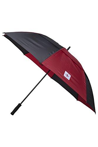 Mountain Warehouse Golfschirm mit vertikalen Streifen - Doppelter Schirm, strapazierfähiger Sonnenschirm, pflegeleichter Schirm - 150 cm - Ideal für Garten, Picknick Rot