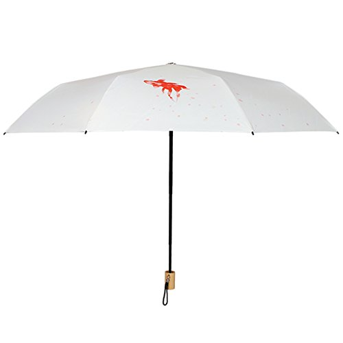 FYX-umbrella Lotus Schatten Sonnencreme UV Vinyl schwarz Regenschirm drei Falten weiblichen kleinen frischen Regenschirm - Schatten Lotus