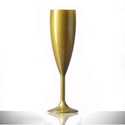 Or Plastique Polycarbonate flûtes à champagne, Lot de 12, 187,1 gram, verre en plastique de qualité alimentaire – Réutilisez des Centaines de fois | pratiquement incassable – rigide en polycarbonate