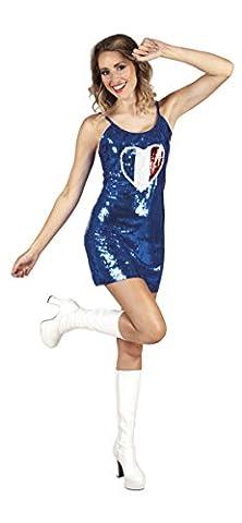 erdbeer-clown - Damen Pailletten Minikleid mit Herzprint Frankreich , Blau, One Size (Frankreich Kostüm Für Jungen)