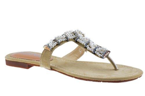 F. Milano Perles Ciabatta Tongs Neuf Chaussures . Beige