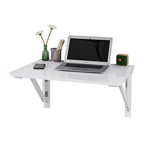SoBuy® Tavolo da Muro Pieghevole in Legno 75 * 60cm, Senza Sedia, Due Supporti,Bianco, FWT05-W