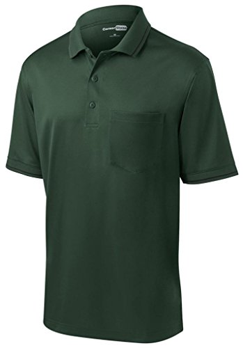 Cornerstone Herren knitterfrei Pocket Polo Shirt grün - Dark Green/ Black