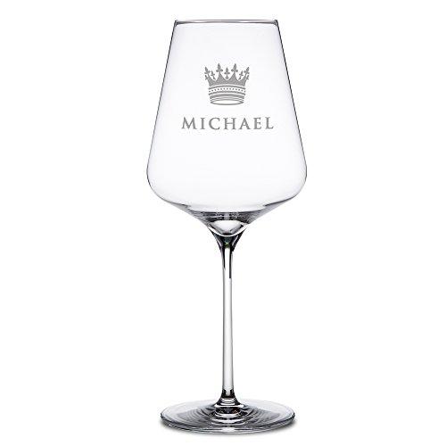 AMAVEL - Rotweinglas mit Gravur - Personalisiert mit Namen - Krone - Echtglas - originelle Geschenkidee zum Geburtstag für Männer und Frauen - Weinglas Gravur - großes Rotwein Glas