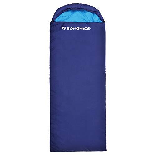 SONGMICS Saco de Dormir con Capucha para 7-15°C, Ligero y Portátil, con Saco de Compresión, para 3 Estaciones de Viaje, Camping, Senderismo, Mochilero, Actividades al Aire Libre, Azul GSB02IN