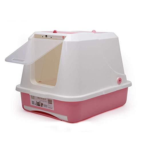H.JPT Litter Boxes, Clamshell Double Layer Band Drawer Cat Litter Tray with Lid, Pet Supplies, 58X46X43CM (Color : PINK) (Clamshell-box)
