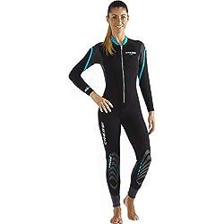 Cressi Lei All-in-One Wetsuit Combinaison de plongée Épaisseur 2.5mm Femme, Noir/Gris/Aiguemarine, L/4