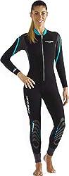 Cressi Damen Lei All-in-one Wetsuit Einteiliger Neoprenanzug für Frauen aus Neopren 2,5 mm, Schwarz/Grau/Aquamarin, L/4