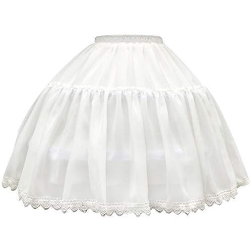 Lace Trim Mädchen Kurze (Lamdoo Frauen Mädchen 2 Hoops Chiffon Kurzer Petticoat Scalloped Lace Trim Lolita Cosplay Braut Einstellbare Krinoline Unterrock Treiben)