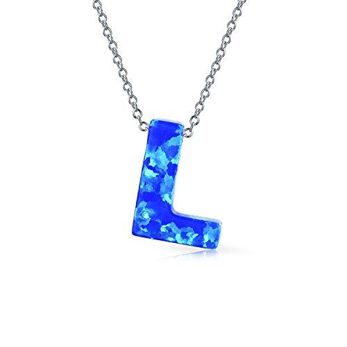 Blau Opal ABC Block Buchstabe Alphabet Initialen L Kette Mit Anhänger Für Damen Silber Oktober Geburtsstein