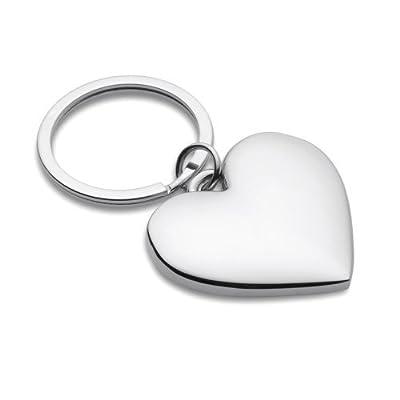 eBuyGB 1265316 - Llavero de metal cromado con forma de corazón, en caja de regalo, apto para grabado