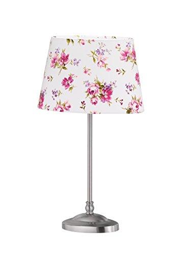 Blumen-design-tisch-lampe (Tischleuchte Nickel matt Stoffschirm Weiß Blumen Dekor Höhe 38 cm 55941 Deckenleuchte Spot Design Lampe Leuchte Beleuchtung Hängelampe)