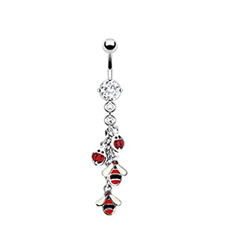 MsPiercing Navel Ring With Dangling Ladybugs