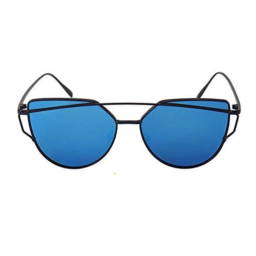 YGBH Trendige polarisierte Sonnenbrille, Bunter polarisierender Spiegel mit großem Rahmen für UV 400 Schutz im Freien,Blue