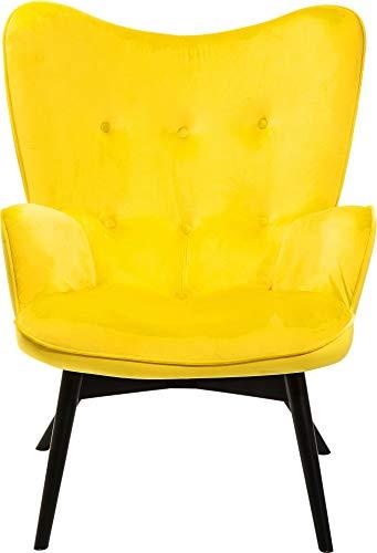 Kare Sessel Vicky Velvet Gelb, 82661,samtiger Loungesessel, TV-Sessel mit dunklem Holzgestell,...