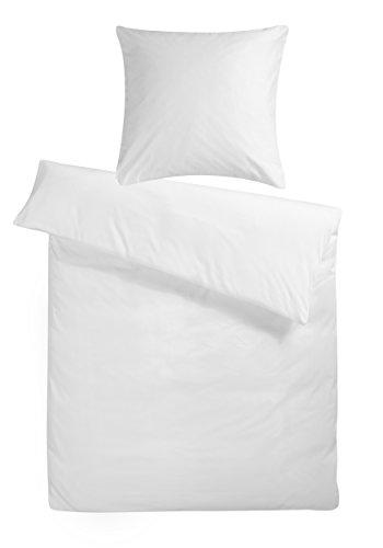 Mako-Satin Bettwäsche-Set 'Uni' 240 x 220 cm Weiß - Bettdecke und Kopfkissen-Bezug aus Satin-Baumwolle mit Reißverschluss - Der schöne & elegante 3-teilige Doppelbett-Bezug mit leichtem Glanz für 2 Personen