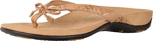 Vionic Bella - Womens Orthotic Thong Sandals Gold Cork - 9.5 Medium Gold Thong Schuh