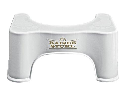 Mein KAISERSTUHL — der Herausförderer — Toilettenhocker WC Hocker für Erwachsene & Kinder — Badhocker für Toilette — Anatomische Toilettenhilfe — Stuhl auch als Tritthocker im Bad geeignet — Weiß