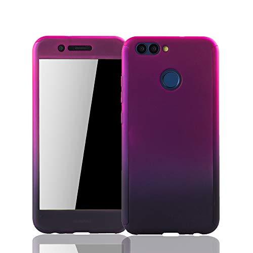 König Design Schutz-Case geeignet für Huawei Nova 2 Hülle mit Panzerglas   Sturzsichere Full Cover Handyhülle in Pink/Violett