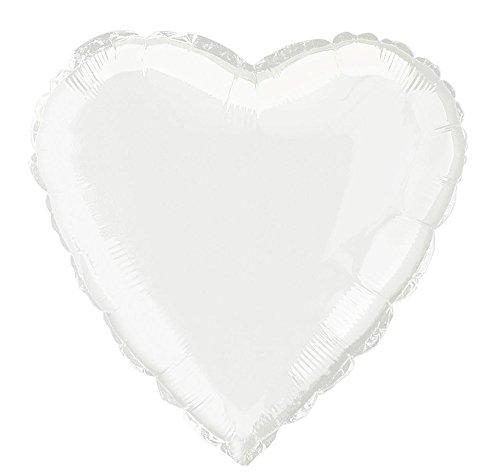 Unique Party - 52961 - Ballon à l'Hélium - Forme de Cœur - 45 cm - Blanc
