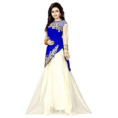 Kuber Women's Velvet and Net Lehenga Choli (Lahenga Variation_Blue_Free Size, Off-White)