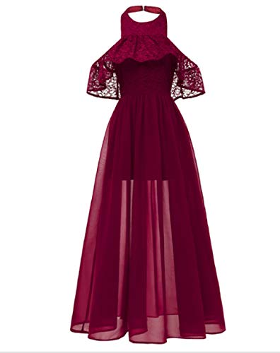 LYQPD Girls Halter Lace Chiffon Flower Dress Junior Wedding Bridesmaid Pageant Formal Party Dress Maxi Ball Gown,WineRed,XL (Vintage Flower Girl Dresses Lace)