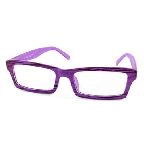 1021 Lila Holz-Korn Vollrandfassung plain Gläser Rechteck Objektiv Brille