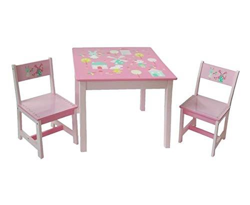 Kinder Tisch Stuhl (Style home 3tlg. Kindersitzgruppe Kindertisch mit Stühle Holz Sitzgruppe für Kinder Mädchen und Jungen Kindermöbel Set (Rosa))