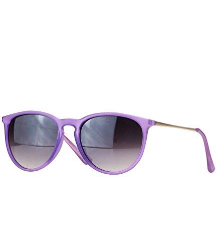 caripe Retro Sonnenbrille Hornbrille Brille -139 (big - transparent violett - smoke getönt)