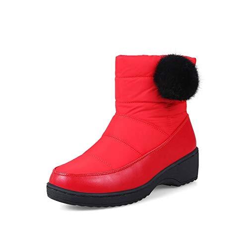 Frauen Russland Wasserdichte Bequeme Stiefeletten Winter Slip Auf Runde Kappe Unten Kurze PlüSch Schnee Stiefel Schuhe -