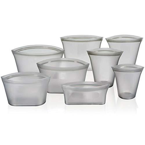 Fishyu❤❤ Multifunktions-Zip-Lock Auslaufsichere Behälter Geschirr Taschen Set Kunststoff-Free Kitchen Supplies (Gray2) Silicon Top