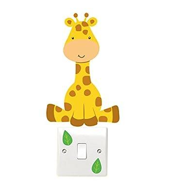 Giraffe and Leaves Light Switch Wall Sticker Children's Bedroom Playroom Fun Adhesive Vinyl - cheap UK light store.