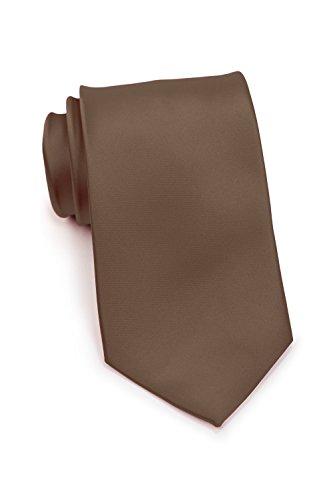 PUCCINI Schmale Krawatte, einfarbig, verschiedene Farben, Mikrofaser, Satinglanz, Handarbeit, 6 cm Slim Tie, Büro - Hochzeit - Alltag (Mokka / Braun)