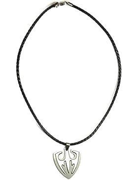 Lufetti Halskette Herren Leder mit Edelstahl Anhänger