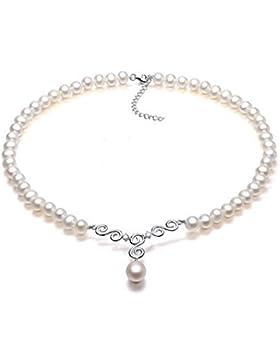 VIKI LYNN Brautschmuck Damen Kette Hochzeit Perlenkette Perlen HalsKette Weiß mit klar Kristall und Sterling Silber...
