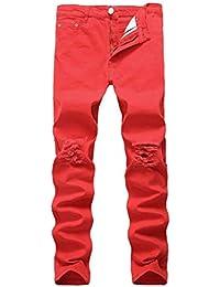 1da624624dab Herren Slim Fit Schwarz Stretch Destroyed Zerrissene Skinny Denim Jeans  Vintage Classic Fashion Freizeit Jeanshose Trousers