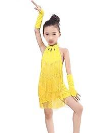 Trajes de Vestir de Baile de Tango Vestido de Baile Latino con Borla y  Disfraces de Baile para niña pequeña para niños… 31834504ba6a6