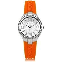 Da donna Morgan De Toi M1138O cinturino in Silicone per orologio con Acciaio Inox alloggiamento e diamante pietre intorno fuori
