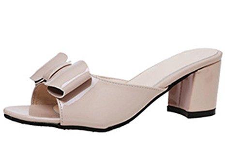 Mit dem rauen mit offenen Sandalen und Pantoffeln Wort ziehen Bogen Schuhe mit hohen Absätzen meters white