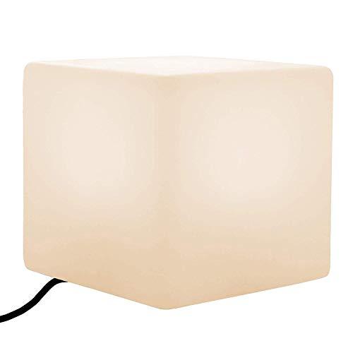 Lampadaire LED avec tabouret cube | Grand siège lumineux, table d'appoint, 50 cm | Éclairage moderne debout libre pour le salon, la fête de mariage, le salon de l'hôtel, le bar (ampoule chauffée bla