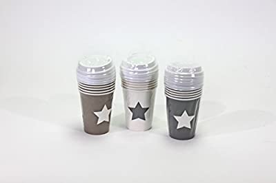 Coffee to Go Cup/Coffee Cup with Lid Disposable Tableware Paper Cups/Set of 18with Star (Paper) - low-cost UK light shop.
