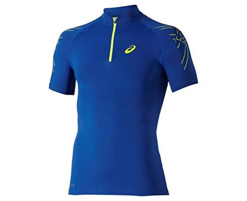 Herren Laufshirt Inner Muscle 1/2 Zip Top blau Schwarz - Schwarz