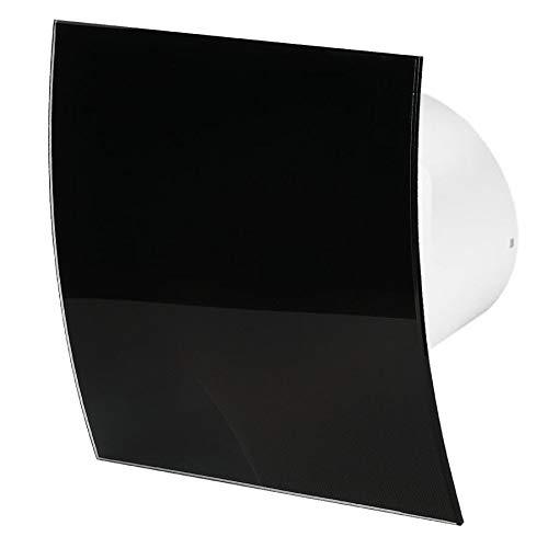 100mm Feuchtigkeitssensor Dunstabzugshaube Glänzendes Schwarzes Glas Frontblende ESCUDO Wand Decke Belüftung