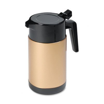 poly-lined-carafe-wide-mouth-w-snap-off-lid-40-oz-capacity-black-gold-sold-as-1-each