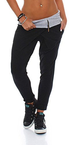 Malito Damen Jogginghose in Wickel Optik | Sporthose in Unifarben | Baggy zum Tanzen | Sweatpants - Trainingshose 3318 (schwarz)