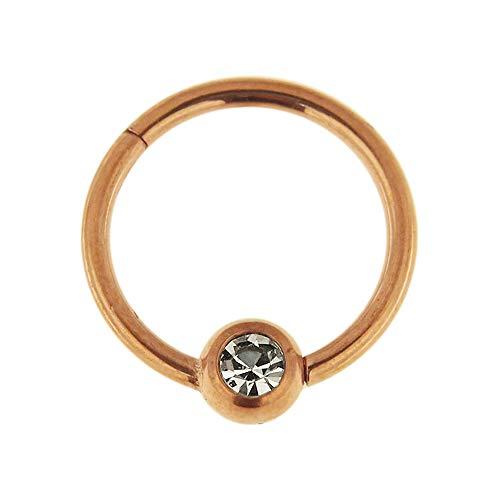 Roségold eloxiert 16 Gauge - 8MM Durchmesser 316L Chirurgenstahl Clicker klappbar Bead Ring mit Crystal Stone Piercing Schmuck