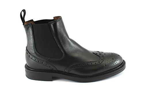 Frau 73P6 Chaussures en Cuir Noir Homme sivaletti Beatles Anglais